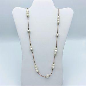 LOFT Faux Pearl Cord Boho Hippy Chic Long Necklace